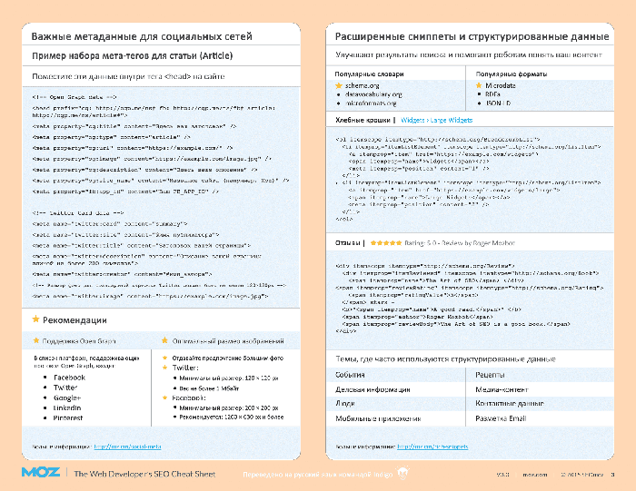 Страница 3 - Web Developer's SEO Cheat Sheet 3.0 на русском
